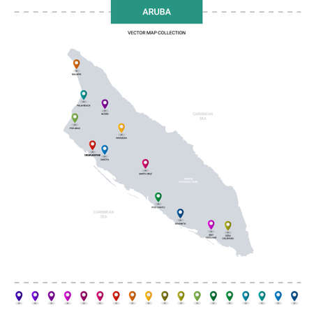 Aruba map with location pointer marks. Infographic vector template, isolated on white background. Illustration