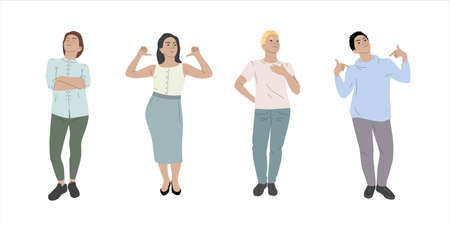 Set of people - man and woman with proud and arrogant expression. Colorful people illustration on white background. Hand drawn people illustration. Çizim