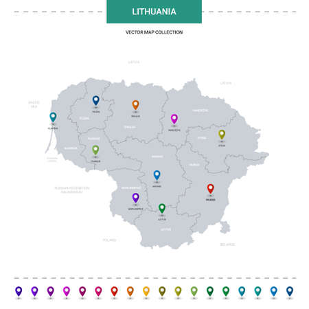 Lithuania map with location pointer marks. Infographic vector template, isolated on white background.