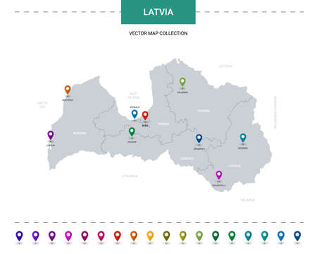 Latvia map with location pointer marks. Infographic vector template, isolated on white background. Illusztráció