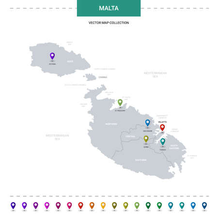 Malta map with location pointer marks. Infographic vector template, isolated on white background. Illusztráció