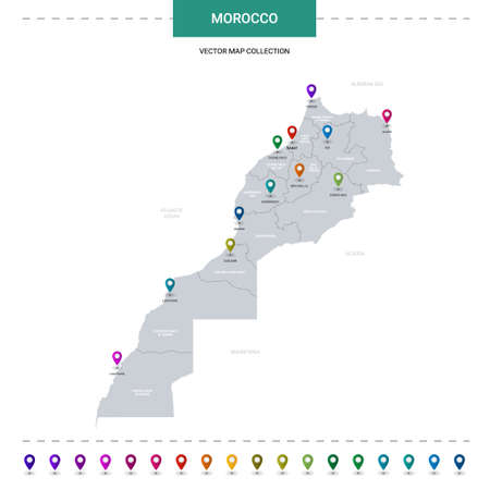 Morocco map with location pointer marks. Infographic vector template, isolated on white background.
