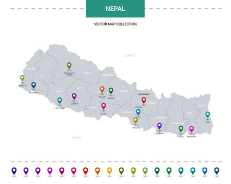 Nepal map with location pointer marks. Infographic vector template, isolated on white background.
