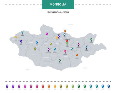 Mongolia map with location pointer marks. Infographic vector template, isolated on white background. Illusztráció