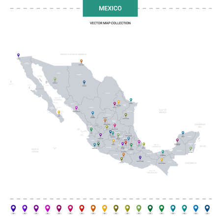 Mexico map with location pointer marks. Infographic vector template, isolated on white background.