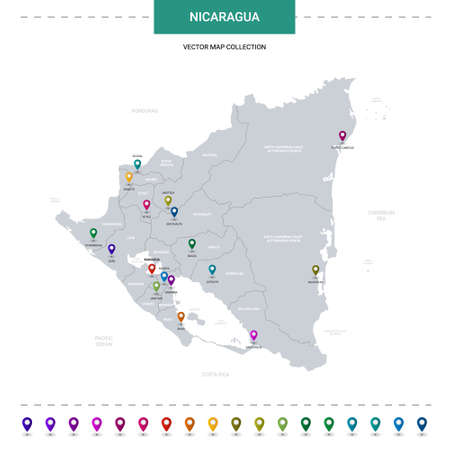 Nicaragua map with location pointer marks. Infographic vector template, isolated on white background.