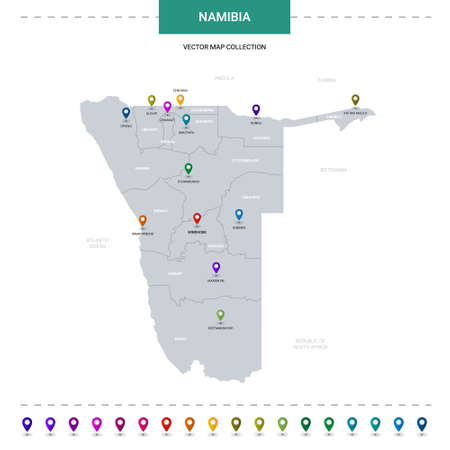 Namibia map with location pointer marks. Infographic vector template, isolated on white background.