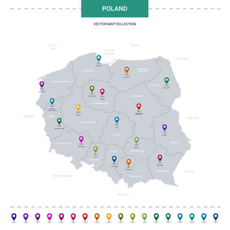 Poland map with location pointer marks. Infographic vector template, isolated on white background. Illusztráció
