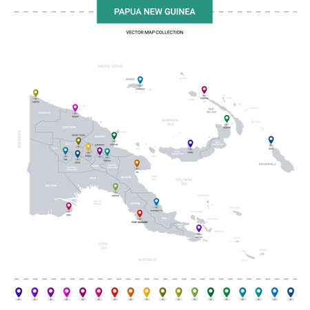 Papua New Guinea map with location pointer marks. Infographic vector template, isolated on white background.