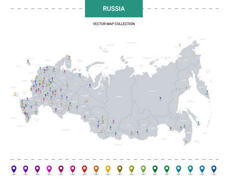 Russia map with location pointer marks. Infographic vector template, isolated on white background. Illusztráció