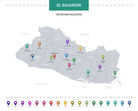 El Salvador map with location pointer marks. Infographic vector template, isolated on white background.