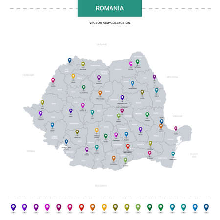 Romania map with location pointer marks. Infographic vector template, isolated on white background.