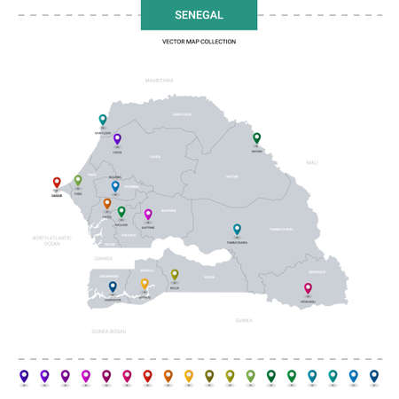 Senegal map with location pointer marks. Infographic vector template, isolated on white background.