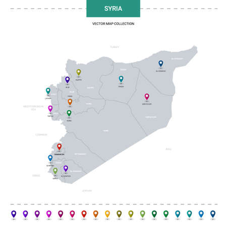 Syria map with location pointer marks. Infographic vector template, isolated on white background. Illusztráció