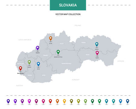 Slovakia map with location pointer marks. Infographic vector template, isolated on white background. Illusztráció