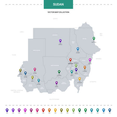 Sudan map with location pointer marks. Infographic vector template, isolated on white background. Illusztráció