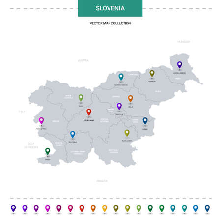 Slovenia map with location pointer marks. Infographic vector template, isolated on white background.