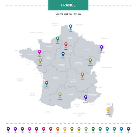 France map with location pointer marks. Infographic vector template, isolated on white background.