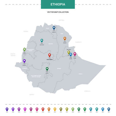 Ethiopia map with location pointer marks. Infographic vector template, isolated on white background.