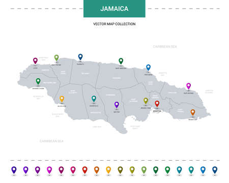 Jamaica map with location pointer marks. Infographic vector template, isolated on white background.