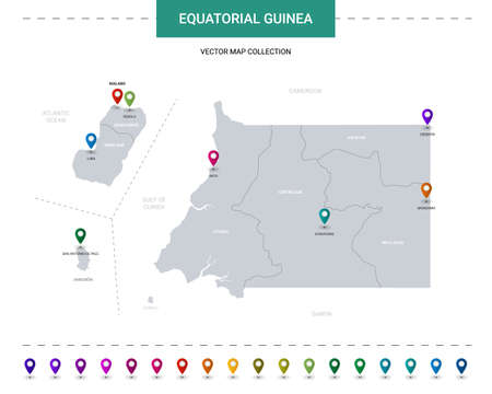 Equatorial Guinea vector map. Editable template with regions, cities, red pins and blue surface on white background. Illusztráció