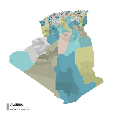 Algeria higt detailed map with subdivisions. Administrative map of Algeria with districts and cities name, colored by states and administrative districts. Vector illustration with editable and labelled layers. Ilustração