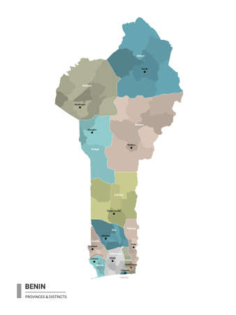 Benin higt detailed map with subdivisions. Administrative map of Benin with districts and cities name, colored by states and administrative districts. Vector illustration with editable and labelled layers. Ilustração