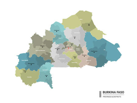 Burkina Faso higt detailed map with subdivisions. Administrative map of Burkina Faso with districts and cities name, colored by states and administrative districts. Vector illustration with editable and labelled layers.