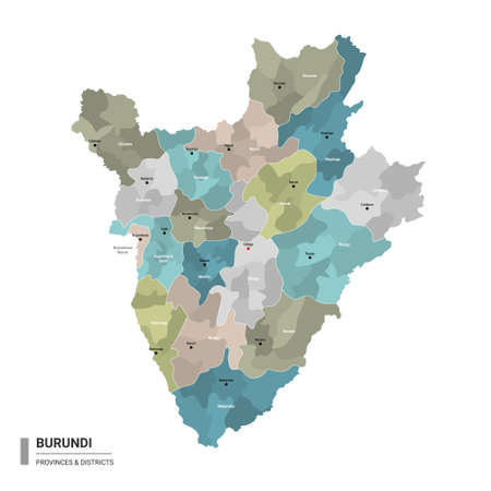 Burundi higt detailed map with subdivisions. Administrative map of Burundi with districts and cities name, colored by states and administrative districts. Vector illustration with editable and labelled layers.