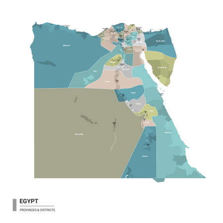 Egypt higt detailed map with subdivisions. Administrative map of Egypt with districts and cities name, colored by states and administrative districts. Vector illustration with editable and labelled layers.