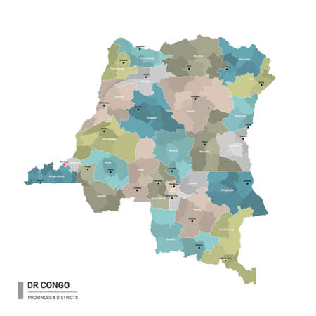 DR Congo higt detailed map with subdivisions. Administrative map of DR Congo with districts and cities name, colored by states and administrative districts. Vector illustration with editable and labelled layers.