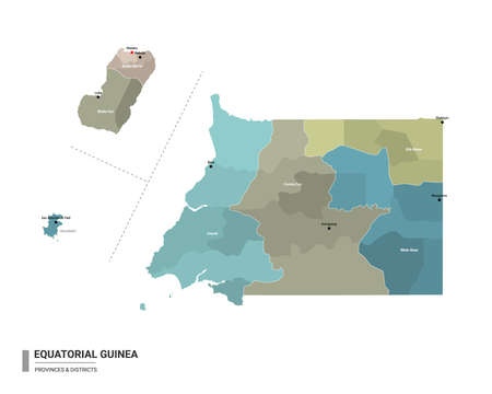 Equatorial Guinea higt detailed map with subdivisions. Administrative map of Equatorial Guinea with districts and cities name, colored by states and administrative districts. Vector illustration with editable and labelled layers.