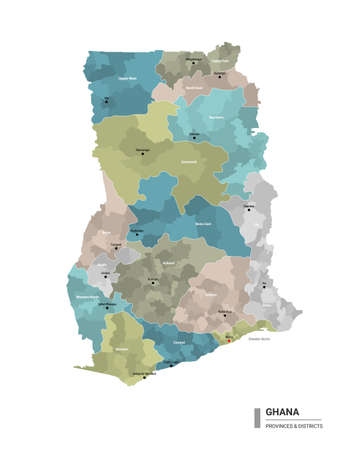 Ghana high detailed map with subdivisions illustration