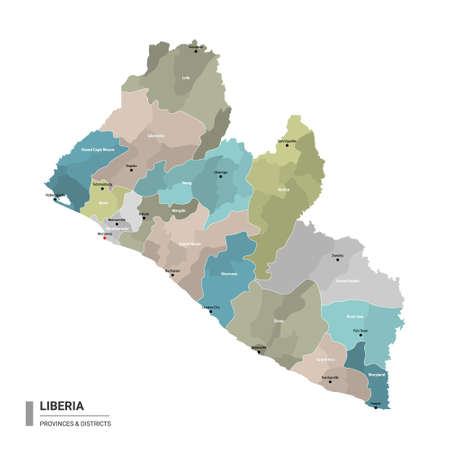 Liberia higt detailed map with subdivisions. Administrative map of Liberia with districts and cities name, colored by states and administrative districts. Vector illustration with editable and labelled layers. Ilustração