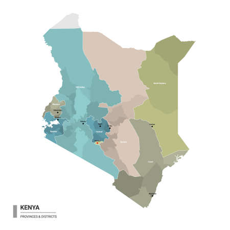 Kenya higt detailed map with subdivisions. Administrative map of Kenya with districts and cities name, colored by states and administrative districts. Vector illustration with editable and labelled layers.