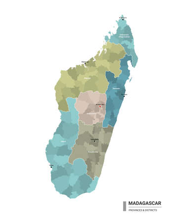Madagascar higt detailed map with subdivisions. Administrative map of Madagascar with districts and cities name, colored by states and administrative districts. Vector illustration with editable and labelled layers. Ilustração