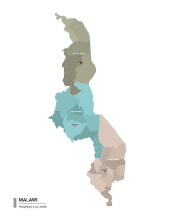 Malawi higt detailed map with subdivisions. Administrative map of Malawi with districts and cities name, colored by states and administrative districts. Vector illustration with editable and labelled layers.