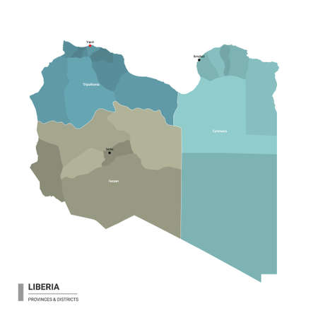 Libya higt detailed map with subdivisions. Administrative map of Libya with districts and cities name, colored by states and administrative districts. Vector illustration with editable and labelled layers.