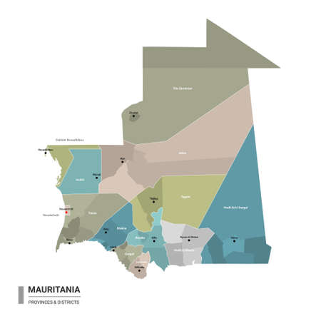 Mauritania higt detailed map with subdivisions. Administrative map of Mauritania with districts and cities name, colored by states and administrative districts. Vector illustration with editable and labelled layers.
