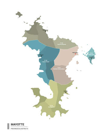 Mayotte higt detailed map with subdivisions. Administrative map of Mayotte with districts and cities name, colored by states and administrative districts. Vector illustration with editable and labelled layers. Ilustração