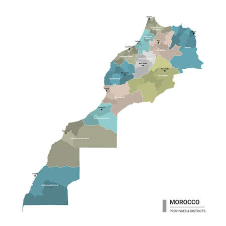 Morocco higt detailed map with subdivisions. Administrative map of Morocco with districts and cities name, colored by states and administrative districts. Vector illustration with editable and labelled layers.