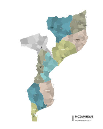 Mozambique higt detailed map with subdivisions. Administrative map of Mozambique with districts and cities name, colored by states and administrative districts. Vector illustration with editable and labelled layers.