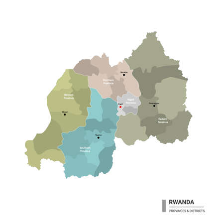 Rwanda higt detailed map with subdivisions. Administrative map of Rwanda with districts and cities name, colored by states and administrative districts. Vector illustration with editable and labelled layers.