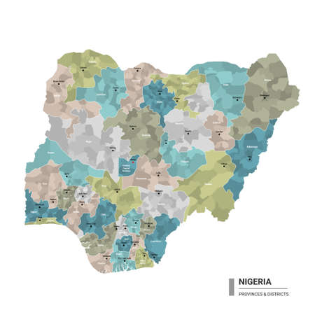 Nigeria higt detailed map with subdivisions. Administrative map of Nigeria with districts and cities name, colored by states and administrative districts. Vector illustration with editable and labelled layers.