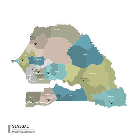 Senegal higt detailed map with subdivisions. Administrative map of Senegal with districts and cities name, colored by states and administrative districts. Vector illustration with editable and labelled layers. Ilustração