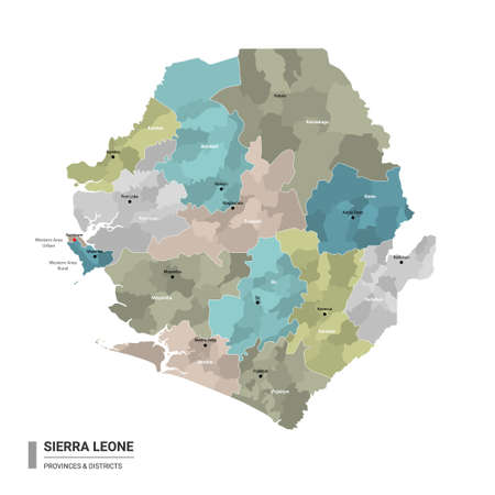 Sierra Leone higt detailed map with subdivisions. Administrative map of Sierra Leone with districts and cities name, colored by states and administrative districts. Vector illustration with editable and labelled layers.