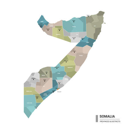 Somalia higt detailed map with subdivisions. Administrative map of Somalia with districts and cities name, colored by states and administrative districts. Vector illustration with editable and labelled layers.