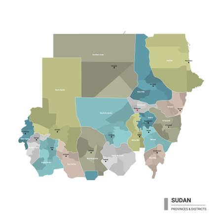 Sudan higt detailed map with subdivisions. Administrative map of Sudan with districts and cities name, colored by states and administrative districts. Vector illustration with editable and labelled layers.