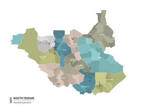 South Sudan higt detailed map with subdivisions. Administrative map of South Sudan with districts and cities name, colored by states and administrative districts. Vector illustration with editable and labelled layers.