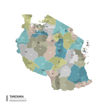 Tanzania higt detailed map with subdivisions. Administrative map of Tanzania with districts and cities name, colored by states and administrative districts. Vector illustration with editable and labelled layers.